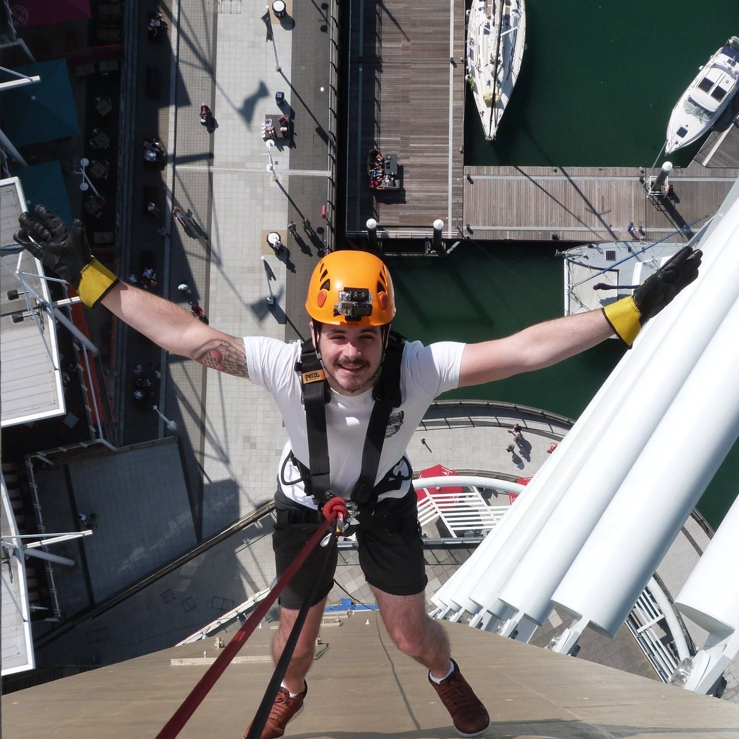 Matt Jenkins-Abseil-Charity-Darren Northeast PR-Macmillan Caring Locally